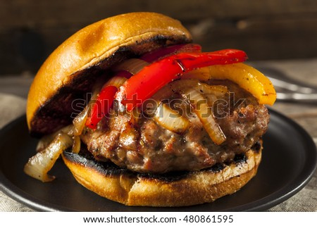 Homemade Sausage Burger with Onions and Peppers