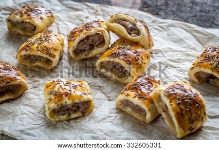 Homemade sausage rolls - stock photo