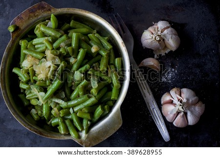Homemade Sauteed Green Beans with  Garlic - stock photo