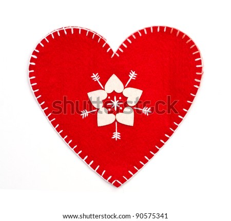 Homemade sewn heart - stock photo