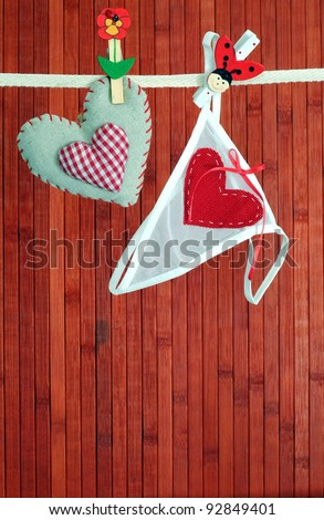 Homemade sewn heart and women's knickers handing on a line - stock photo