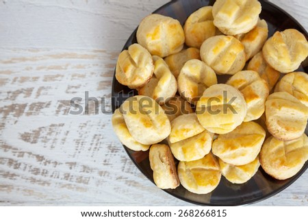 Homemade small salty biscuits - stock photo