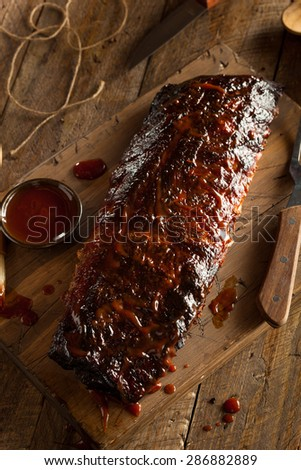 Homemade Smoked Barbecue Pork Ribs Ready to Eat - stock photo