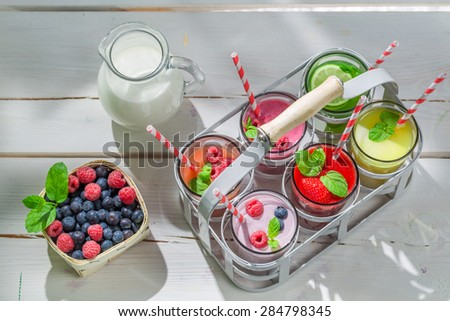 Homemade smoothie with fresh fruits - stock photo
