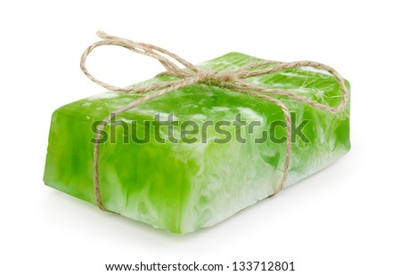 homemade soap on white background - stock photo