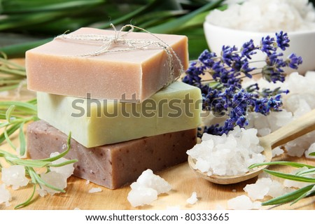 Homemade Soap with Lavender Flowers and Sea Salt - stock photo