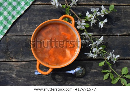 Homemade soup of red fish with vegetables on a wooden background with a blossoming branch of plum
