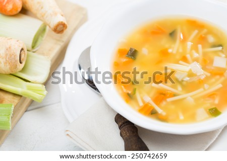 Homemade soup with natural ingredients and healthy - stock photo