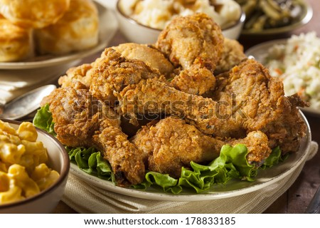 Homemade Southern Fried Chicken with Biscuits and Mashed Potatoes  - stock photo