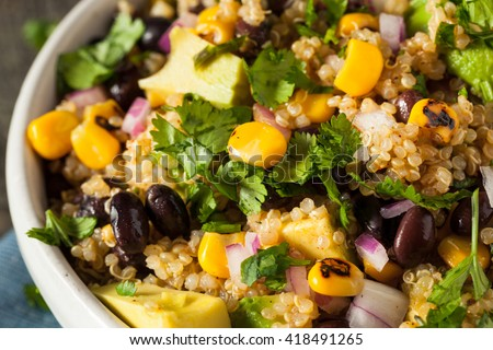 Homemade Southwestern Mexican Quinoa Salad with Beans Corn and Cilantro - stock photo