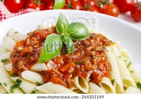 Homemade spaghetti bolognese - stock photo