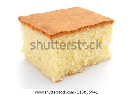 homemade sponge cake on white - stock photo