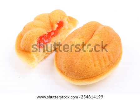homemade sponge cake on white background