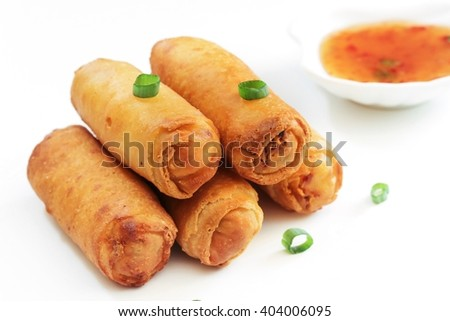 Homemade Spring Rolls isolated on white, selective focus