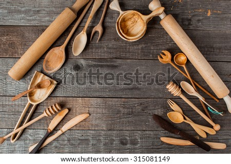 homemade stewed eggplants with mushrooms on vintage wooden background - stock photo