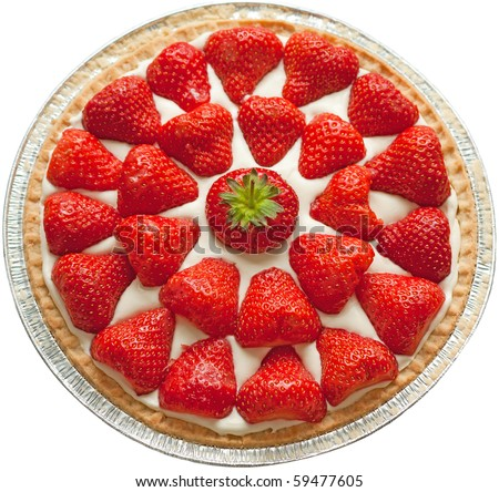 Homemade strawberry cheese cake isolated on white.