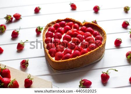 Homemade Strawberry Cheesecake - stock photo