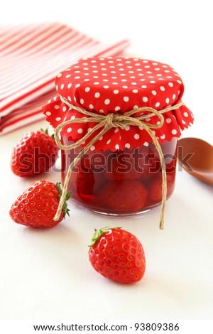 Homemade strawberry jam - stock photo