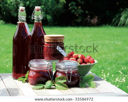 Homemade strawberry jam and squash - stock photo