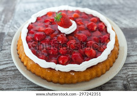 Homemade Strawberry Pie - stock photo