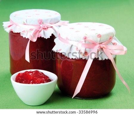 Homemade strawberry/rhubarb jam - stock photo