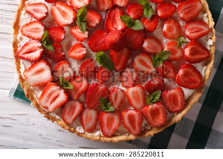 homemade strawberry tart with cream cheese closeup. horizontal view from above - stock photo