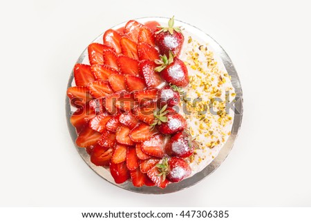 Homemade summer biscuit cake with strawberries