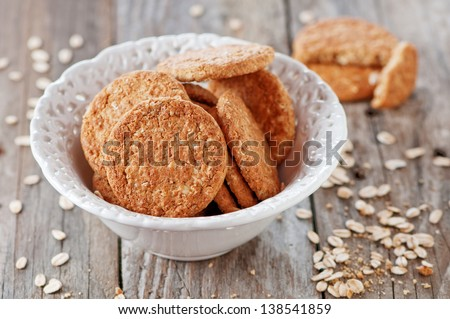 Homemade sweet biscuit with oatmeal, selective focus - stock photo