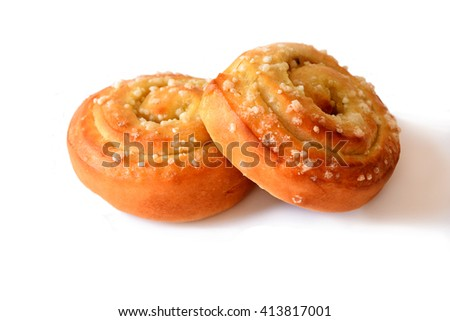 Homemade sweet buns rolls with apple and custard filling - stock photo