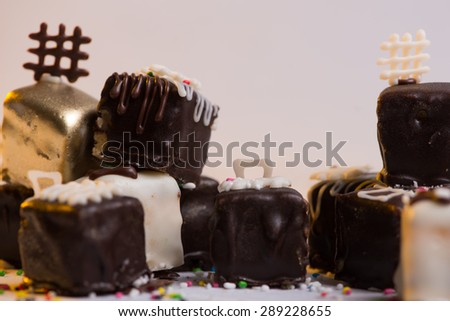 Homemade sweet cookies, served on plate for cakes - stock photo