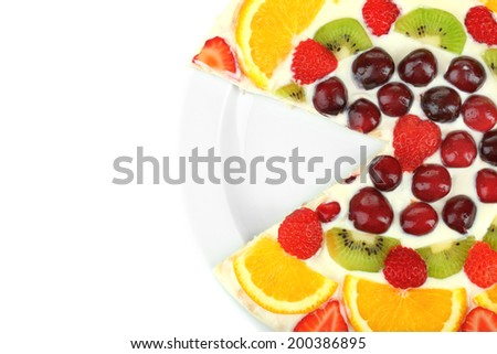 Homemade sweet pizza with fruits isolated on white