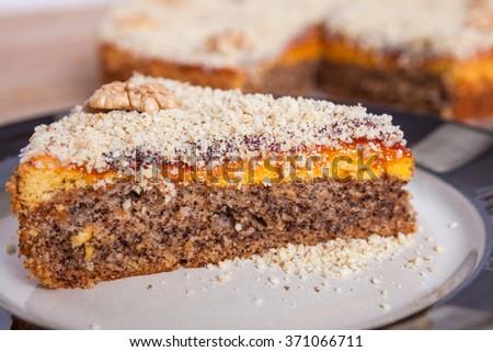 Homemade Sweet Walnut and Plum Jam Cake - stock photo