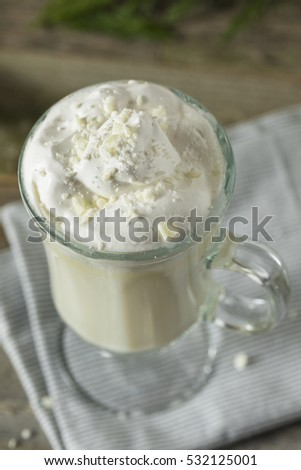 Homemade Sweet White Hot Chocolate with Whipped Cream