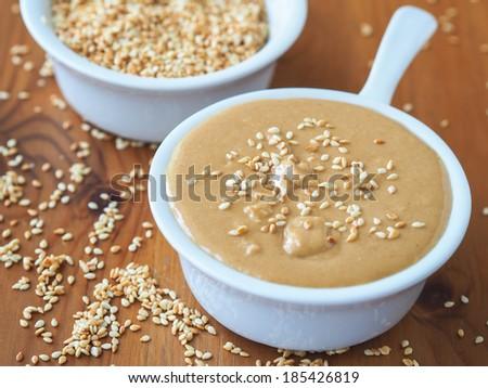 Homemade Tahini (oriental sesame seed paste) - stock photo