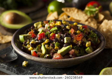 Homemade Texas Caviar Been Dip with Chips - stock photo