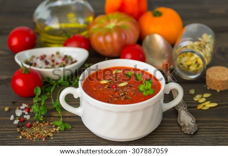 Homemade thick spicy tomato soup. Selective focus - stock photo