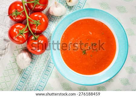 Homemade tomato and red pepper gazpacho soup with tomatoes and garlic - stock photo