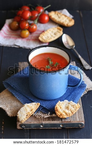 Homemade tomato soup - stock photo