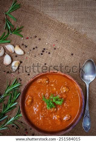 Homemade tomato soup - stock photo