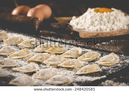 Homemade traditional raw ravioli with some ingredients for making - stock photo