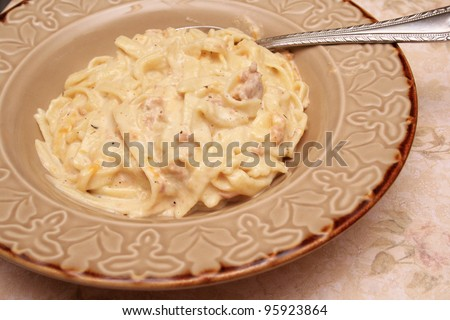 Homemade Tuna casserole with homemade noodles. - stock photo