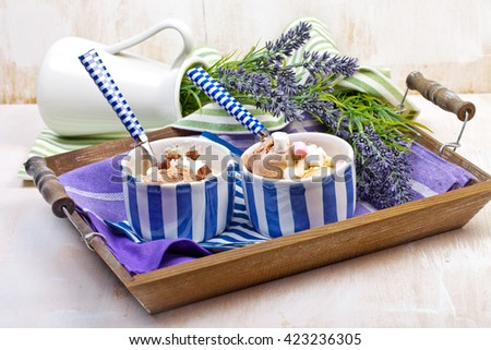 Homemade vanilla and chocolate ice cream with marshmallow, served in ceramic bowl on white wooden background. - stock photo