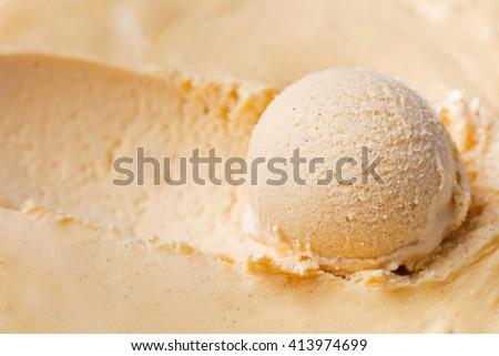 Homemade vanilla, caramel ice cream Organic product Close up - stock photo