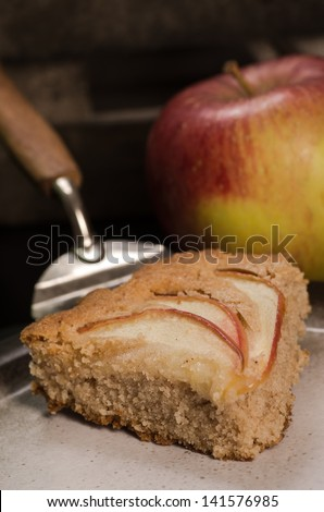 Homemade vegan apple pie. Dairy-free and with fresh apples. - stock photo