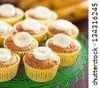 Homemade vegan banana muffins, selective focus - stock photo