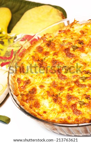 homemade vegetable quiche closeup