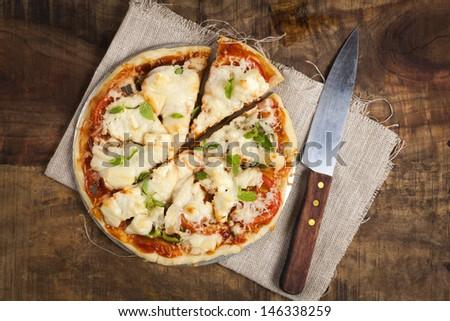 homemade vegetarian pizza - stock photo
