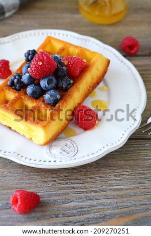 homemade waffles with fresh berries,  food closeup