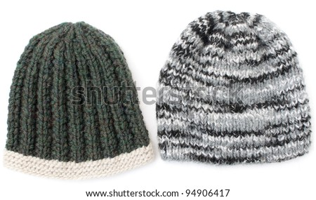 homemade warm knit hats for women, white background