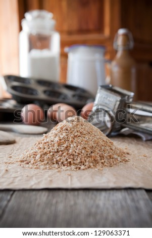 Homemade whole wheat bread crumbs - stock photo